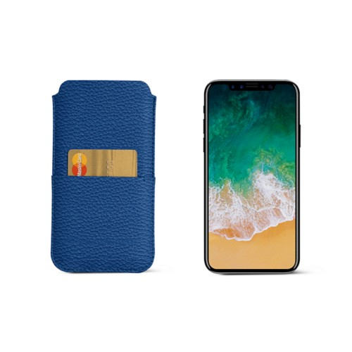 iPhone X pouch with pocket - Royal Blue - Granulated Leather