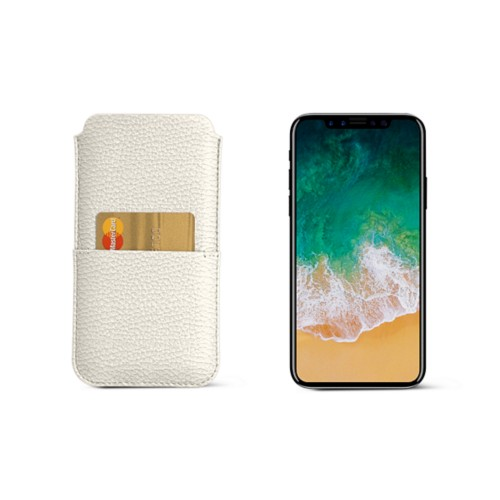 iPhone X pouch with pocket - Off-White - Granulated Leather