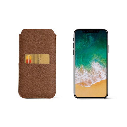 iPhone X pouch with pocket - Tan - Granulated Leather
