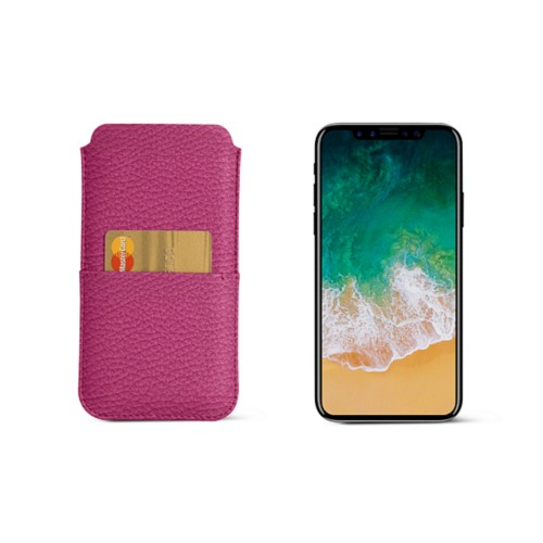 iPhone X pouch with pocket - Fuchsia  - Granulated Leather