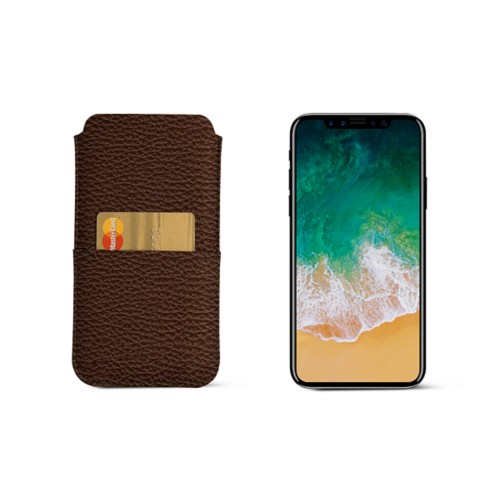 iPhone X pouch with pocket - Dark Brown - Granulated Leather