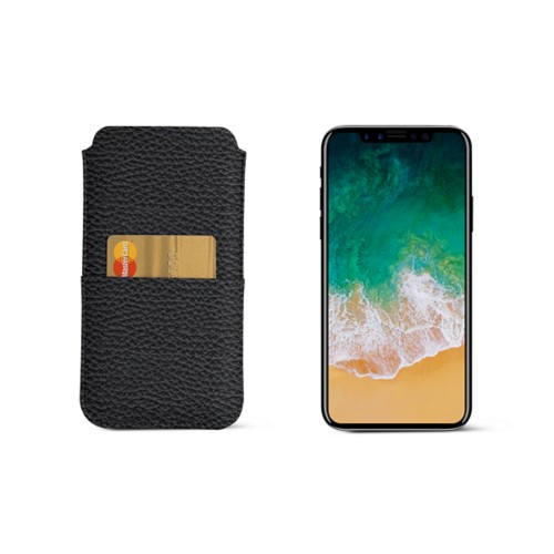 iPhone X pouch with pocket - Black - Granulated Leather