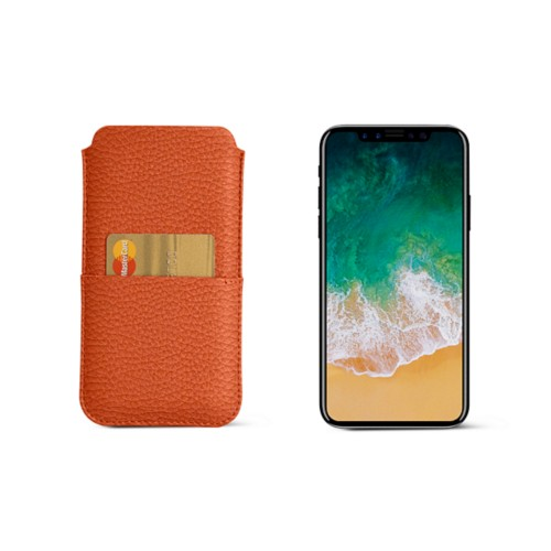 iPhone X pouch with pocket - Orange - Granulated Leather