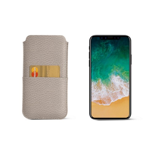 iPhone X pouch with pocket - Light Taupe - Granulated Leather