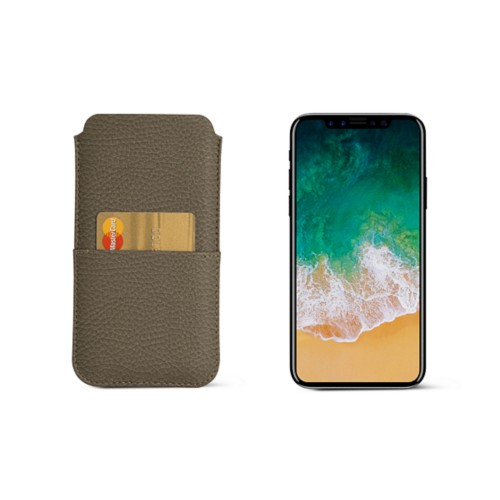 iPhone X pouch with pocket - Dark Taupe - Granulated Leather