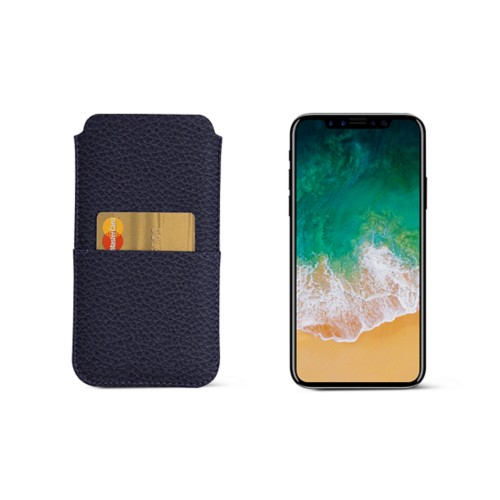 iPhone X pouch with pocket - Purple - Granulated Leather