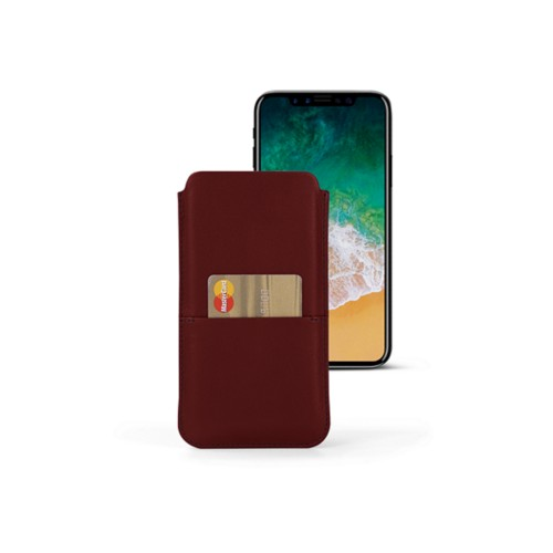 iPhone X pouch with pocket - Burgundy - Smooth Leather