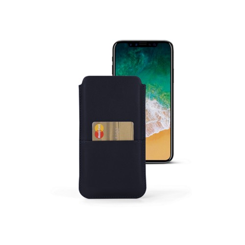 iPhone X pouch with pocket - Navy Blue - Smooth Leather