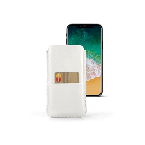 iPhone X pouch with pocket - White - Smooth Leather
