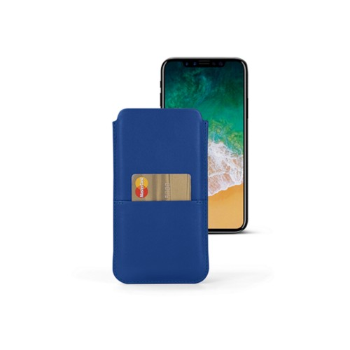 iPhone X pouch with pocket - Royal Blue - Smooth Leather