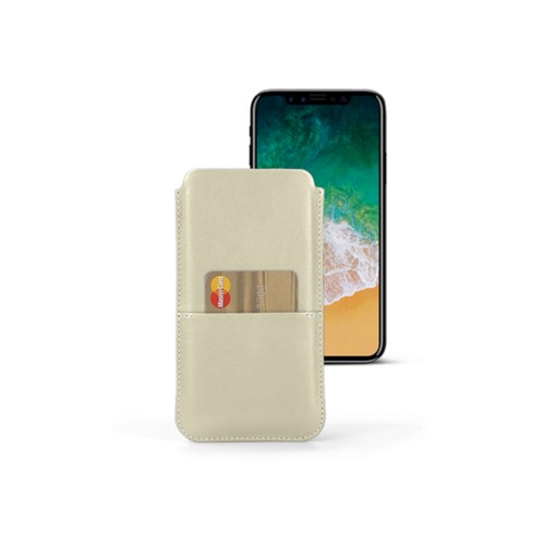 iPhone X pouch with pocket - Off-White - Smooth Leather