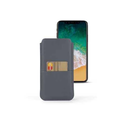 iPhone X pouch with pocket - Mouse-Grey - Smooth Leather