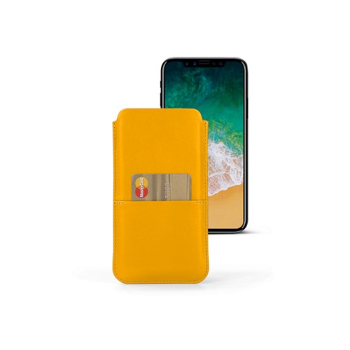 iPhone X pouch with pocket - Sun Yellow - Smooth Leather