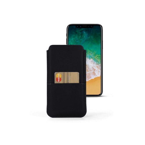 iPhone X pouch with pocket - Black - Smooth Leather