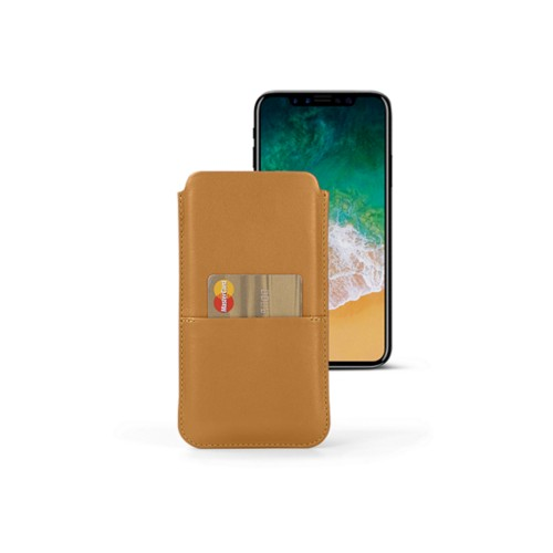 iPhone X pouch with pocket - Natural - Smooth Leather