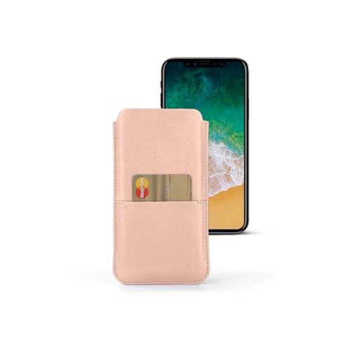 Housse iPhone X avec poche - Nude - Cuir Lisse