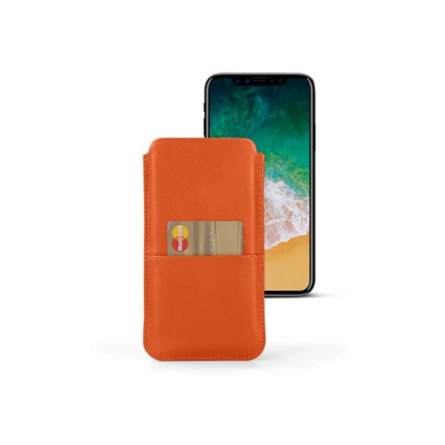 iPhone X pouch with pocket - Orange - Smooth Leather
