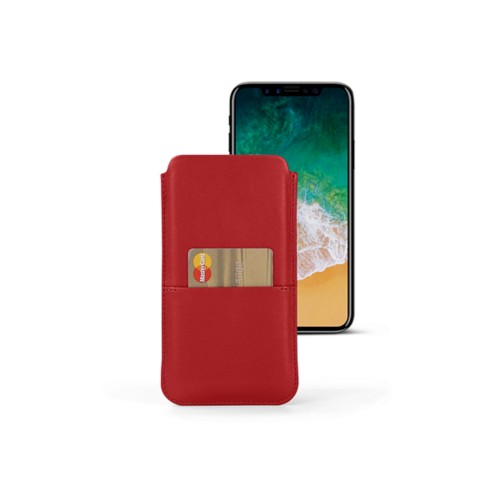 iPhone X pouch with pocket - Red - Smooth Leather