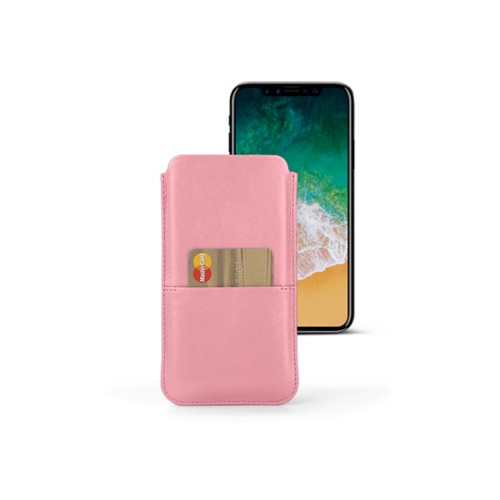 iPhone X スマートフォンケース カードケース付き  - Pink - Smooth Leather