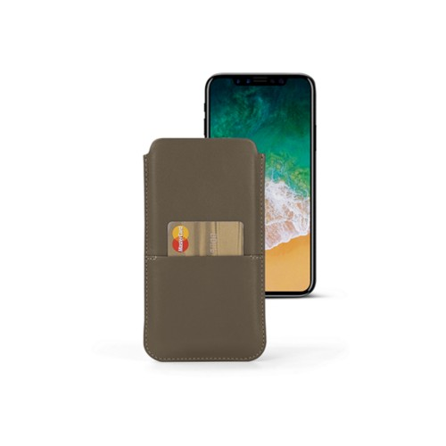 iPhone X pouch with pocket - Dark Taupe - Smooth Leather