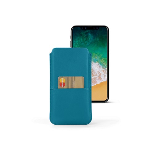 iPhone X pouch with pocket - Turquoise - Smooth Leather