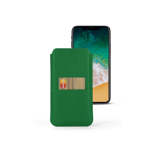 iPhone X スマートフォンケース カードケース付き  - Light Green - Smooth Leather