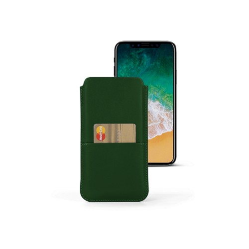 iPhone X pouch with pocket - Dark Green - Smooth Leather