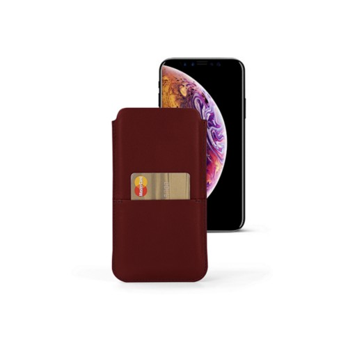 iPhone XS Pouch with pocket - Burgundy - Smooth Leather
