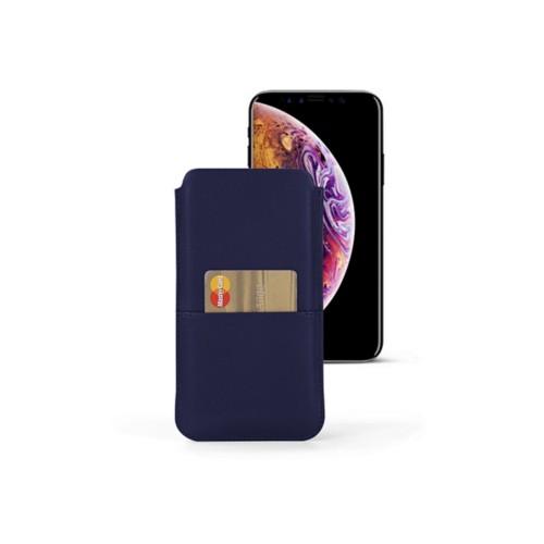 Funda con bolsillo para iPhone XS - Azul marino  - Piel Liso