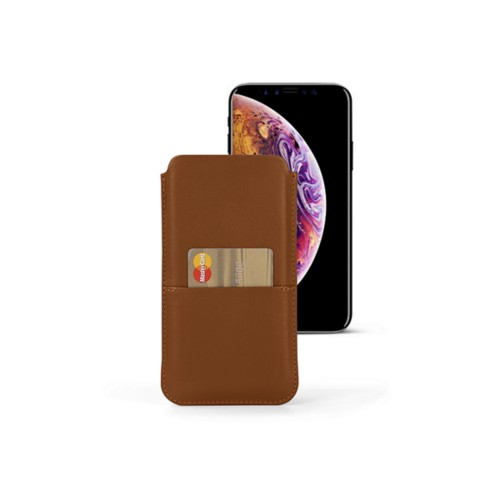 iPhone XS Pouch with pocket - Tan - Smooth Leather