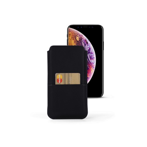 iPhone XS Pouch with pocket - Black - Smooth Leather