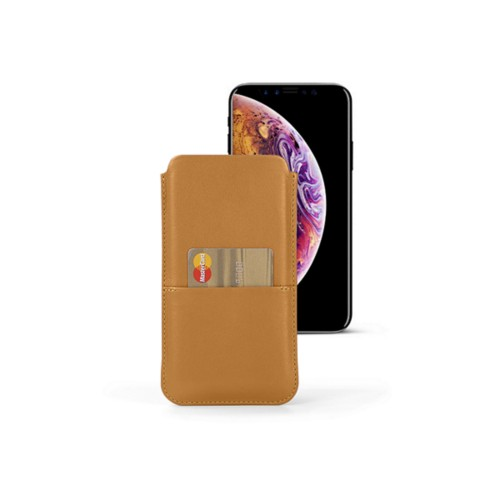 iPhone XS Pouch with pocket - Natural - Smooth Leather