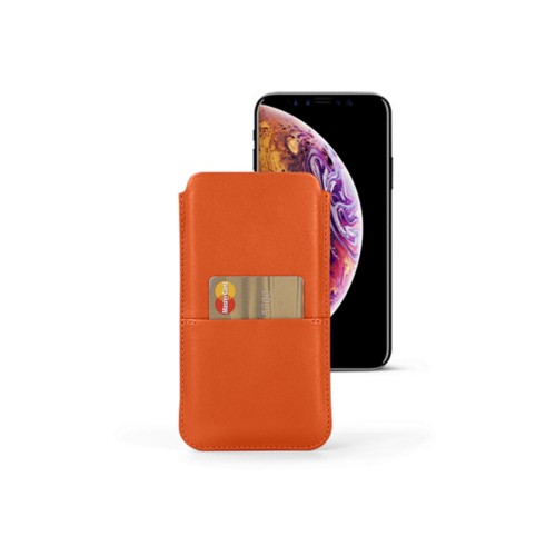 iPhone XS Pouch with pocket - Orange - Smooth Leather