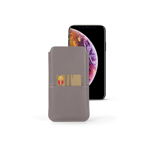 iPhone XS Pouch with pocket - Light Taupe - Smooth Leather