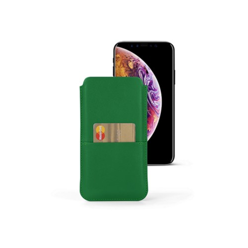 iPhone XS Pouch with pocket - Light Green - Smooth Leather