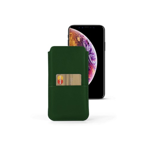 iPhone XS Pouch with pocket - Dark Green - Smooth Leather
