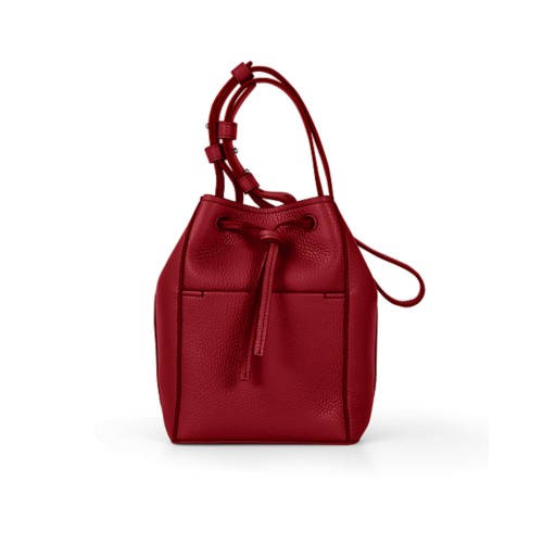 Mini-Bucket Bag - Amaranto - Genarbtes Leder