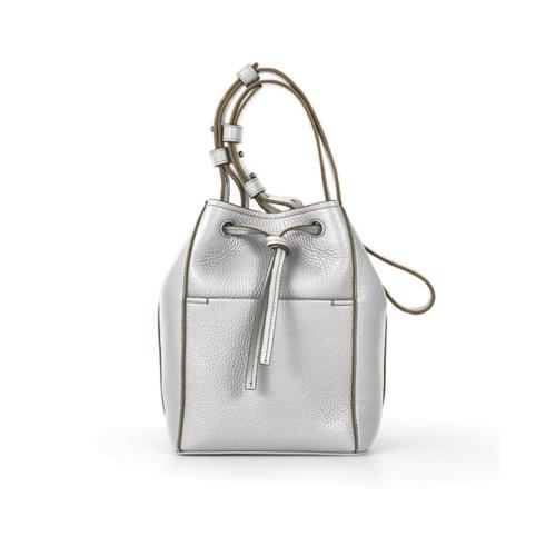 Mini-Bucket Bag - Weiss - Genarbtes Leder