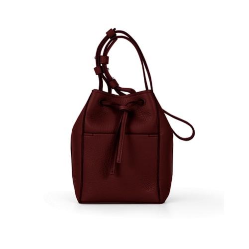 Mini-Bucket Bag - Weinrot - Genarbtes Leder