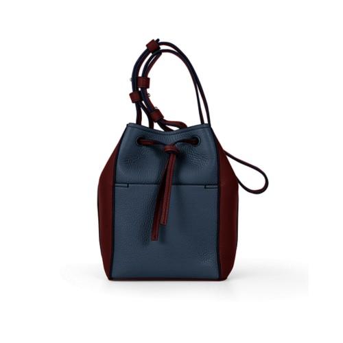 Mini bucket bag - Navy Blue-White - Granulated Leather