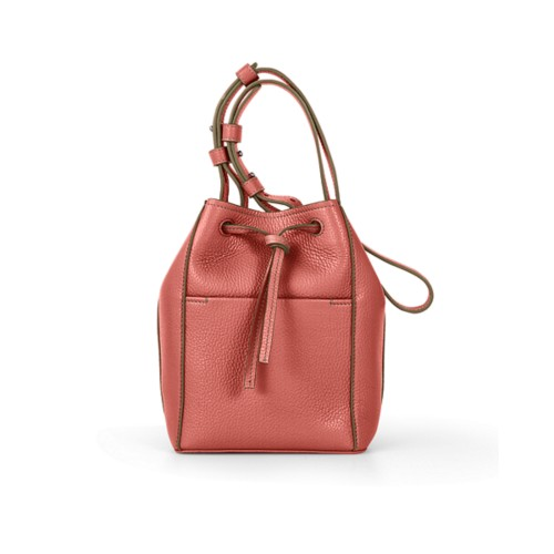 Mini bucket bag - Coral - Granulated Leather