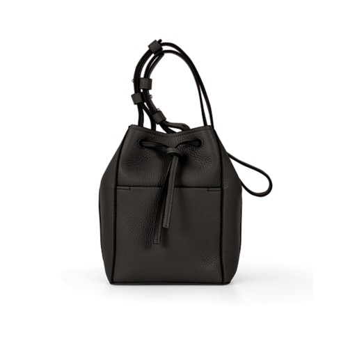 Mini bucket bag - Dark Brown - Granulated Leather
