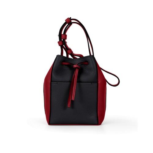Mini bucket bag - Black-Amaranto - Granulated Leather