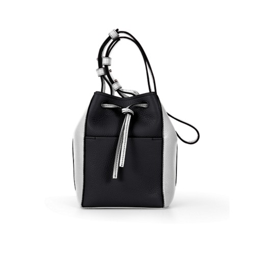 Mini bucket bag - Black-White - Granulated Leather
