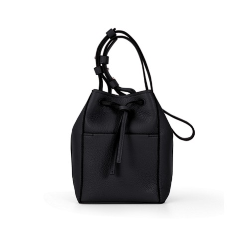 Mini bucket bag - Black - Granulated Leather