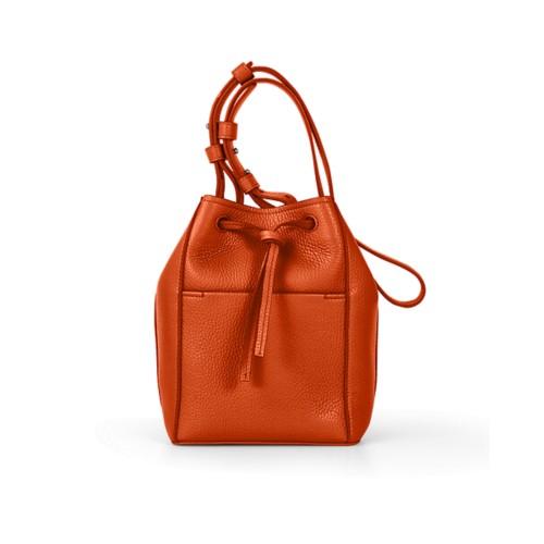 Mini-Bucket Bag - Orange - Genarbtes Leder