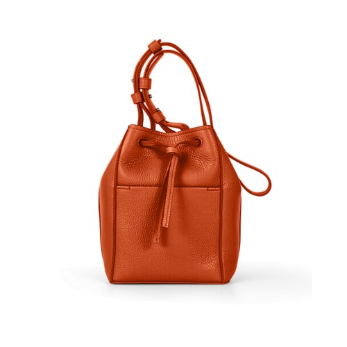 Mini bucket bag - Orange - Granulated Leather