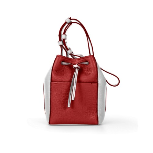 Mini bucket bag - Red-White - Granulated Leather