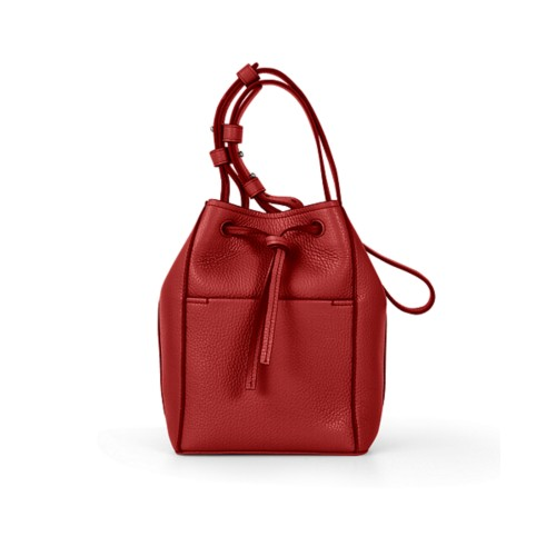 Mini bucket bag - Red - Granulated Leather