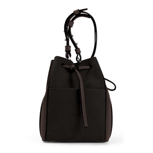 Mini bucket bag - Dark Brown - Suede Calf